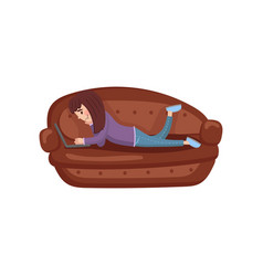 girl lying on her stomach on a sofa using a laptop vector image