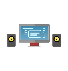 Gray Computer Monitor with Audio Speakers vector image vector image