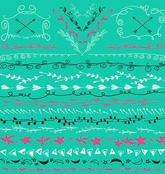 Hand drawn lines border branch frame arrows and vector image vector image