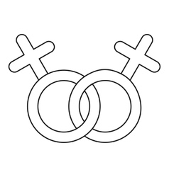Lesbian love sign icon outline style vector image vector image