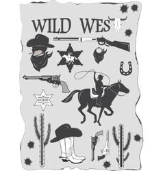 Set of wild west cowboy designed elements vector image vector image