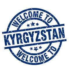welcome to kyrgyzstan blue stamp vector image vector image