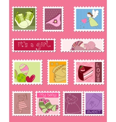 baby girl postage stamps vector image vector image