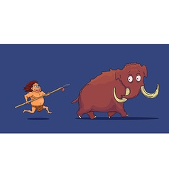 Cartoon Caveman with Spear hunting Mammoth vector image