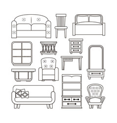 furniture interior icons vector image vector image