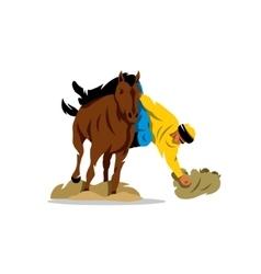 Horse game of Buzkashi Cartoon vector image vector image