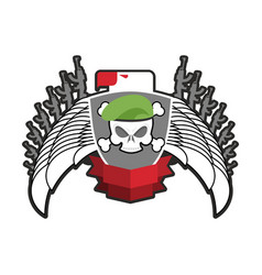 military emblem army logo soldiers badge skull in vector image