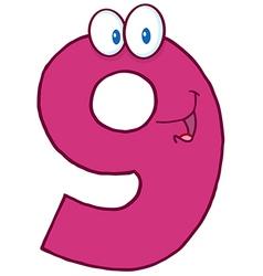 Number Nine Cartoon Mascot Character vector image