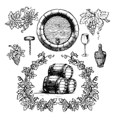 Wine and winemaking vintage set vector image