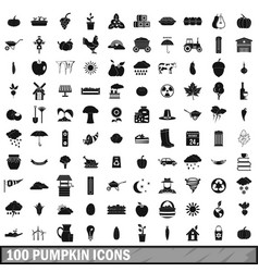 100 pumpkin icons set simple style vector