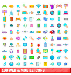 100 web and mobile icons set cartoon style vector