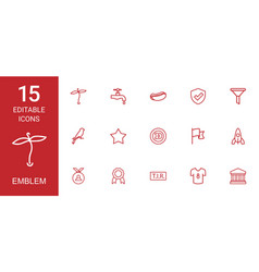 15 emblem icons vector image