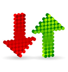 3d dotted up and down arrows vector image