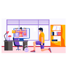 A man doing exercises at home front tv vector