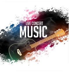 abstract live concert music background with guitar vector image