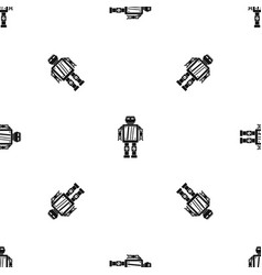abstract robot pattern seamless black vector image