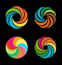 Abstract spiral tornado set logos vector