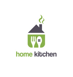 abstract template logo design with house and fork vector image