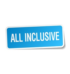 All inclusive blue square sticker isolated on vector