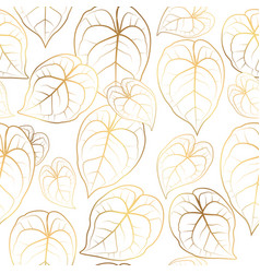 Anthurium tailflower leaves seamless pattern vector