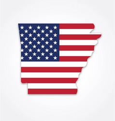 Arkansas state shape with usa flag vector