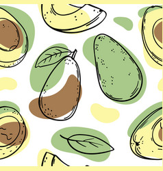 Avocado pattern delicious fruit sketch seamless vector
