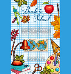 back to school supplies banner with apple and leaf vector image