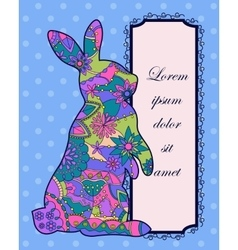 Background with colorful rabbit vector image