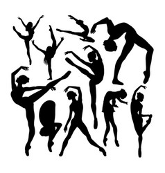 beautiful female ballet dancer silhouettes vector image