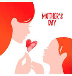 Beautiful mom silhouette with ba mother day vector