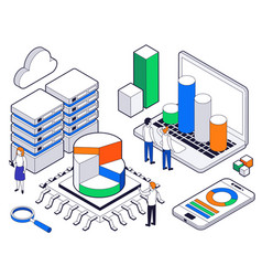 big data science analysis isometric concept vector image