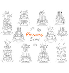 Birthday cakes set hand drawn doodle vector
