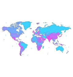 Blue and violet detailed World map vector image