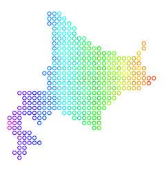 Bright sphere dot hokkaido island map vector