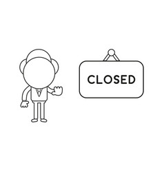 Businessman character with closed hanging sign vector