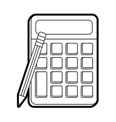 Calculator with blank buttons and screen icon vector