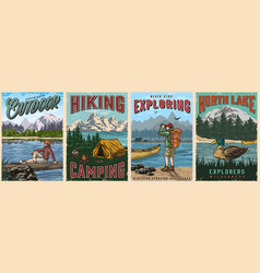 Camping vintage posters vector