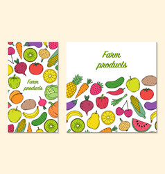 Card flyer with vegetables and fruits vector