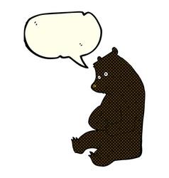 Cartoon happy black bear with speech bubble vector