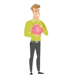 Caucasian business man holding a piggy bank vector