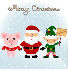 christmas card funny postcard with christmas elf vector image