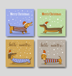 christmas greeting cards with funny dachshund vector image