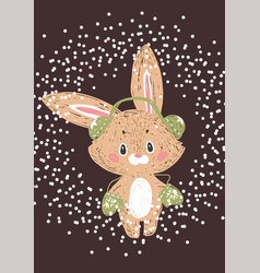 christmas poster wuth bunny vector image