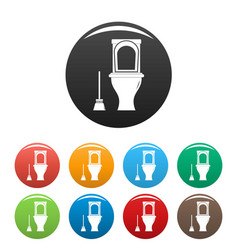 Cleaning toilet icons set color vector