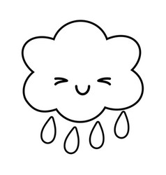 Cloud raining icon black and white vector