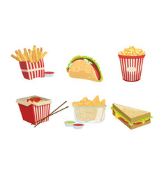 collection fast food takeaway street food vector image
