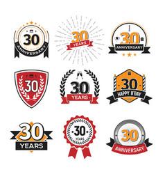 Collection retro thirty anniversary logo set vector