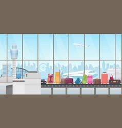 Conveyor belt in modern airport hall baggage vector