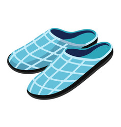 Cosy house slippers in light blue gingham print vector