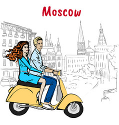 couple driving scooter in moscow vector image
